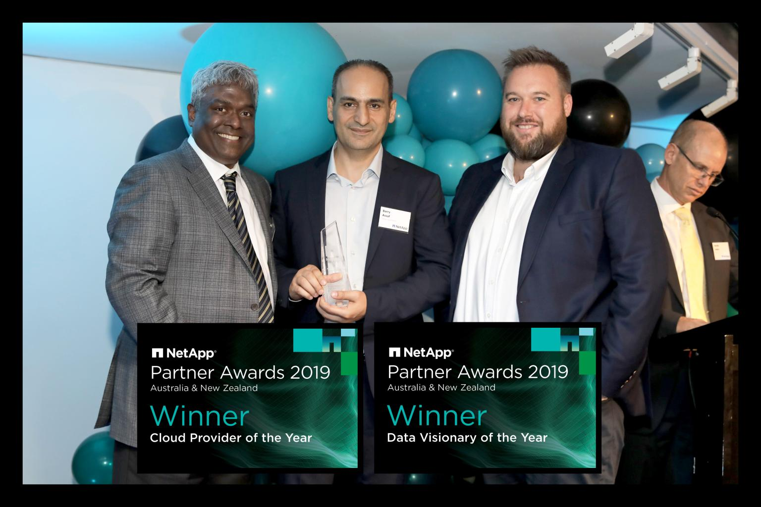 """Netapp CEO George Kurian, Nexon CEO Barry Assaf,  and our Cloud Solutions Consultant Justin Bailey - WINNER - 2019 NetApp Partner Awards' """"Data Visionary of the Year"""""""