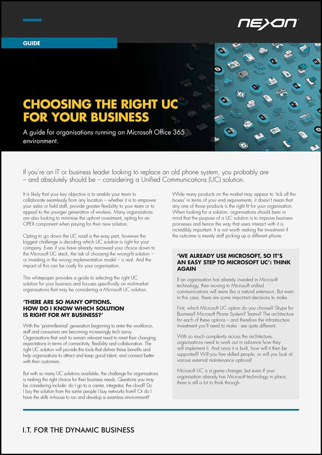 Whitepaper: Choosing the right UC for your business
