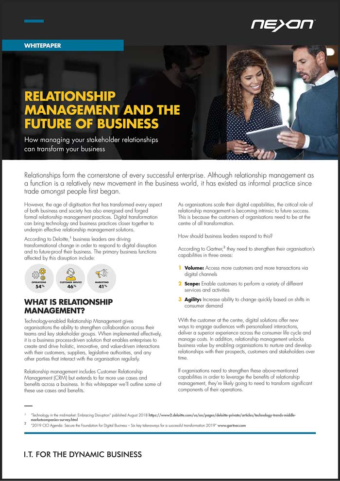 Download the complete Nexon Whitepaper - Relationship Management and the Future of Business