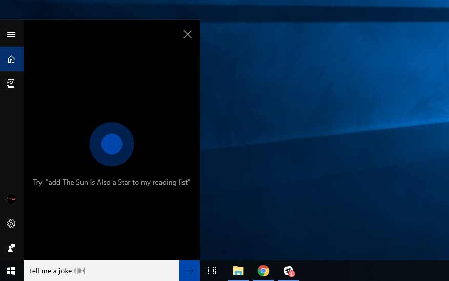 Cortana virtual assistant on Windows 10